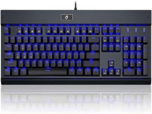 Eagletec KG010 Mechanical Keyboard Clicky Blue Switch Equivalent Wired Ergonomic Office Keyboard