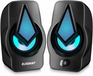 ELEGIANT PC Speakers 2.0 USB Powered Stereo Volume Control with LED Light