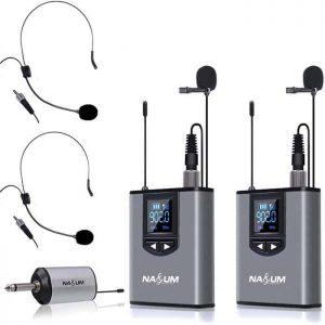 NASUM Dual Wireless Headset Lavalier Mic
