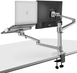 Viozon-Monitor and Laptop Mount, 2-in-1 Adjustable Dual Arm Desk