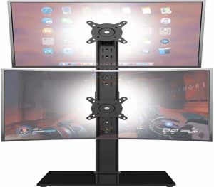 Dual Monitor Stand – Vertical Stack Screen Free-Standing Monitor Riser